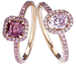 Fancy+Pink+Micropave%CC%81+Aura+Rings+with+Fancy+Pink+Cushion-Cut+and+Oval-Cut+Solitaires++